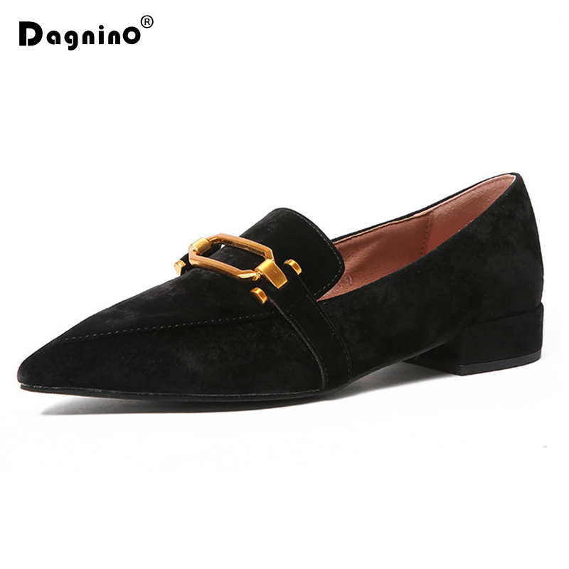 DAGNINO Spring Autumn Women Metal Buckle Flats Velvet Slip On Flat Shoes Black Woman Loafers Pointed Toe Casual Shoes Low Heels brand fedimiro spring oxford shoes women patent leather pointed toe slip on flat loafers casual metal buckles ladies flats