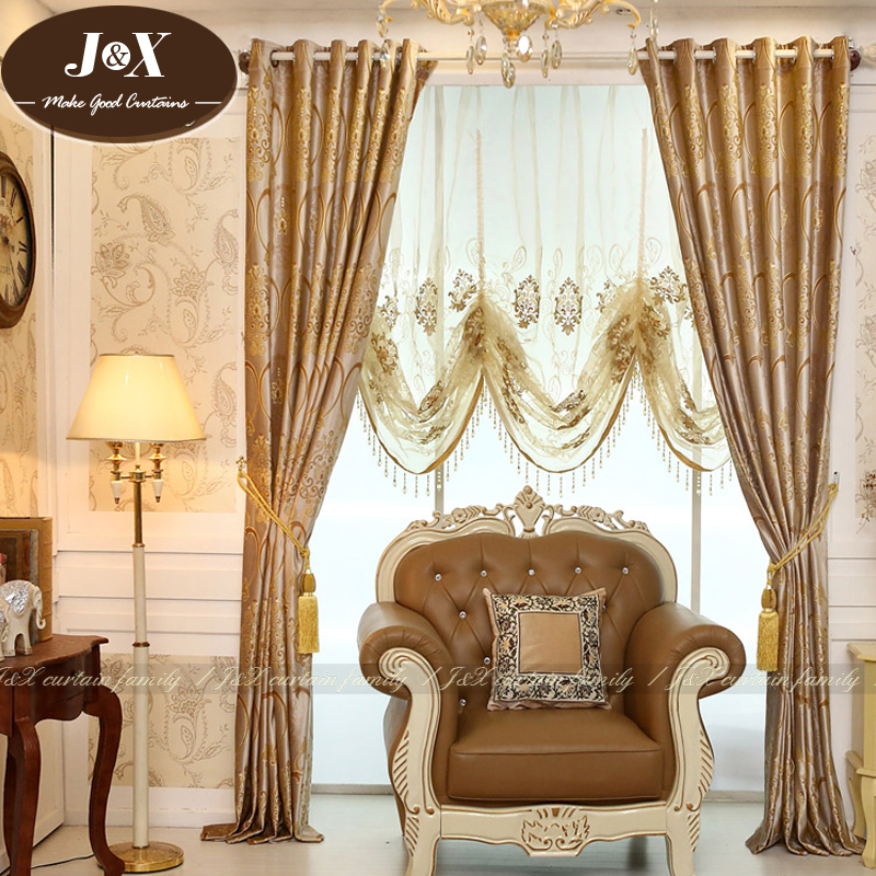 New Italian Embossed Embroidered Brand Upscale Atmosphere European Luxury Living Room Curtains Study Yarn Custom Stuart