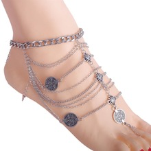 Punk Style Jewelry Retro Silver Color Foot Chain Metal Coin Multi Layered Chains Tassel Anklet C730