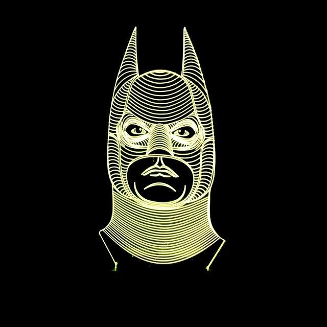 Bat Man Vision Led Night Light 7 Colors Change Fixtures Luminaria De Mesa Wireless Bank Kids Lamp