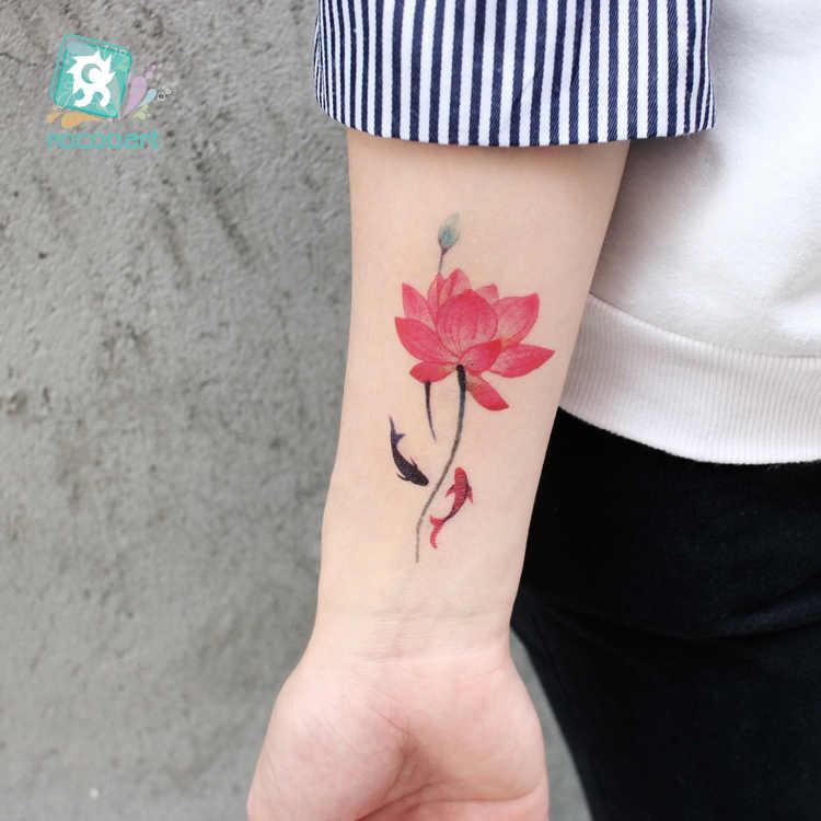 Tatuaje de grulla roja Rocooart, arte corporal a prueba de agua, tatuaje temporal, árboles, Tatuaje falso de murciélago