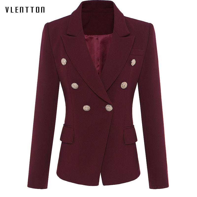 High Quality Woman Blazer 2019 Spring Autumn New Fashion Double Breasted Blazer Femme Long Sleeve Office Jacket Elegant Female