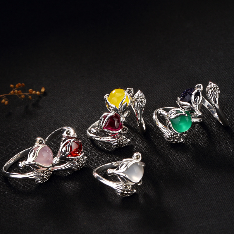 все цены на Women 925 Sterling Silver Rings Fox Ruby Natural Stone Ruby Ring Jewelry For Women Jewelry