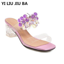 high quality Women Fashion mid Heel Slippers Peep Toe shallow Beading Party Shoes Woman Summer Slip on Beach Flip Flops **636 stylesowner black red genuine leather high heel shoes women slippers peep toe round heel fashion slip on holiday sandal shoes