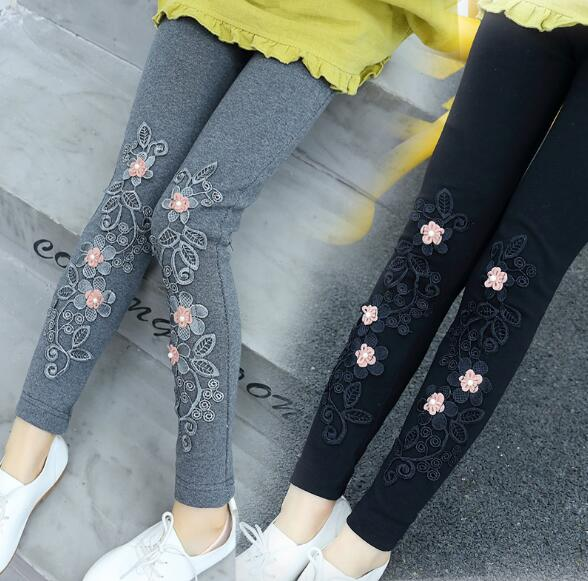 Children Girls Lace Flower Leggings Cotton Causal Skinny Kids Fashion Leggings