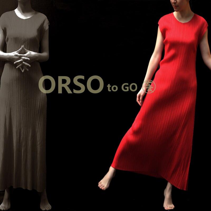 Changpleat 2019 été nouvelles femmes Maxi robes Miyak plissée mode o cou solide élastique taille grande taille femme robe Tide D900-in Robes from Mode Femme et Accessoires    2