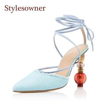 Stylesowner 2019 New Sexy Runway Sandal Shoe Pointed Toe Ankle Strappy Strange Heel Gladiator Shoe Stylish Chic Sandalias
