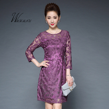 wmwmnu 2018 New fashion Elegant lace Embroidery dress women plus size 5XL party casual vintage sexy office bodycon