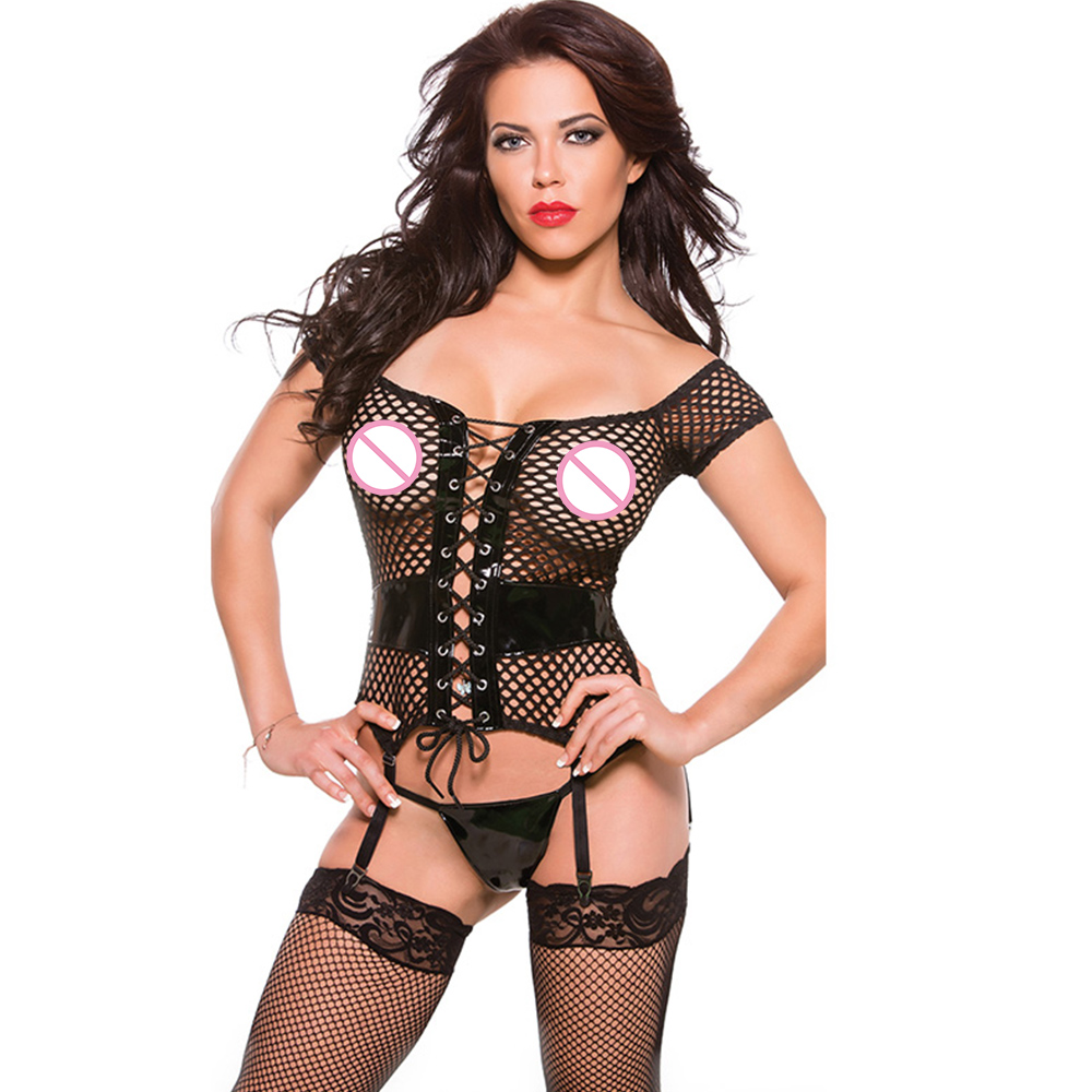Женское нижнее белье, черное, из виниловой кожи, в сетку, с отверстиями, большие размеры XL