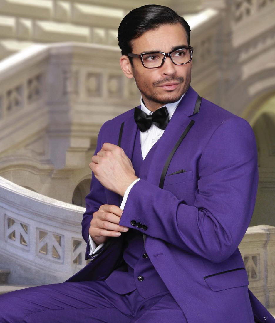 2018 Trendy Purple Men Wedding Suits Notch Lapel Groom Groomsmen Tuxedos One On Bridegroom Jacket Pants Vest Bow Tie In From S Clothing