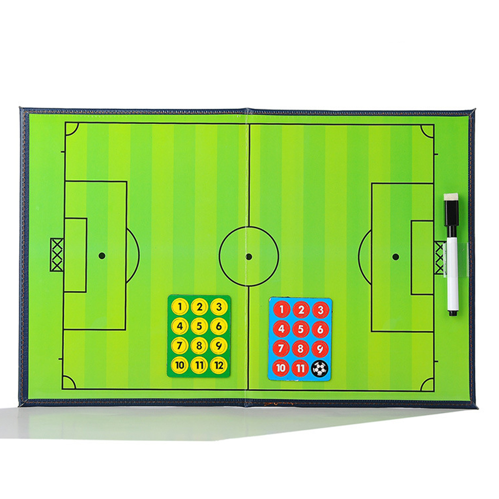 Football Soccer Coaching Strategy Board Kit Foldable Portable Tactic Training Match Coach Clipboard with Marker Pen