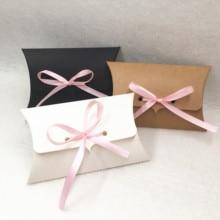 40 caixas de papel do cartão de kraft dos pces forma travesseiro caixa de casamento para doces/cookie/caixa de empacotamento do presente da joia