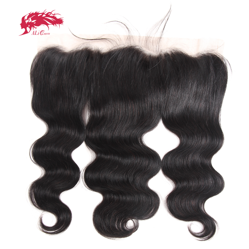 Ali Queen Hair Brasilian Body Wave 13x4 Snörning Frontal Closure Ear To Ear Pre Plockad Med Baby Hair Remy Mänskligt Hår Gratis Part