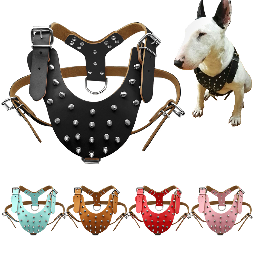 5 Colors Leather Studded Spiked Dog Harness For Pitbull