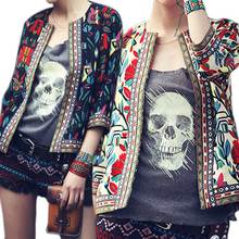 Hot Bohemia Style Embroidery Three-quarter Sleeve Short Coat Jacket Tops Outwear Autumn for Women Ladies