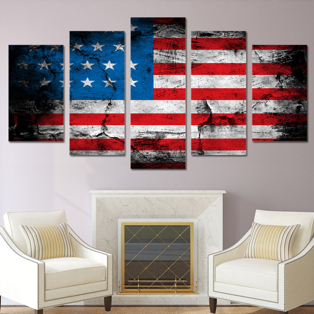 5 Piece Canvas Art American Flag Printed Wall Art Home Decor Canvas  Painting Picture Poster And