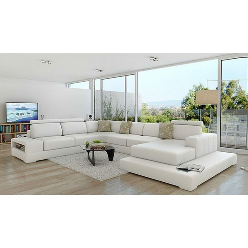 US $1498.0 |U shape hot selling sectional sofa leather sofa set-in Living  Room Sofas from Furniture on AliExpress
