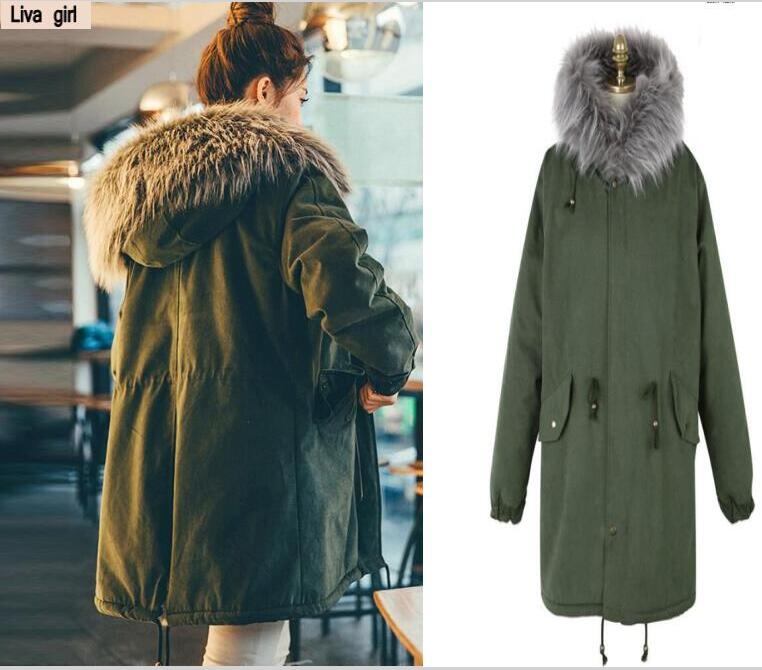 2018 Army green cotton ladies coat large fur collar long section thickening tooling cotton clothing army