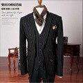 Свадебные Костюмы для Мужчин Полосой Костюмы Куртка Костюм Homme Trajes де Hombres де Vestir Мужчины Blazer Slim Fit Мужчины Костюм