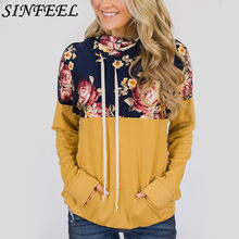 3XL Damesmode Sweatshirt Womens Lange Mouwen Hoge Hals Bloemenprint Patchwork Hoodie Sweatshirt Trui Tops dropshipping(China)