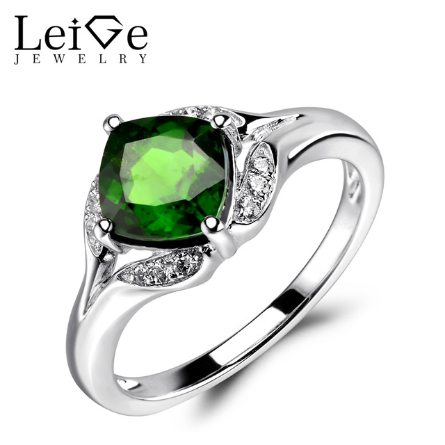 Fine Jewelry Womens Green Chrome Diopside Sterling Silver Halo Ring ZM2uVPe