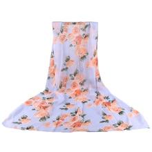 Charming Ladies Lover Flower Rose Chiffon Scarf Chevron Infinity Scarves Women Shawl Beach Towel Female Long Summer
