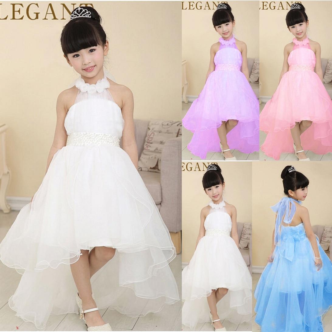35f1f62e6af Hot Selling Flower Girl Dresses For Weddings 4Colors Elegant Trailing Halter  Kids Evening Gown vestidos Comunion For Girls 3-12T