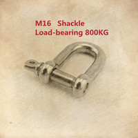 1PCS YT528 M16 304 Stainless Steel Type D Shackle Bow Shackle Quick Release Fastener Load Bearing