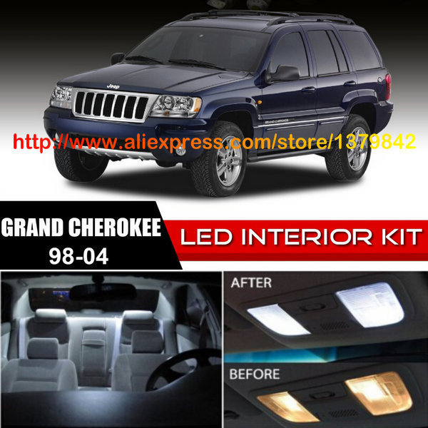 Free Shipping 12Pcs Lot 12v car styling Xenon White Blue Package Kit LED Interior Lights For 98 04 Jeep Grand Cherokee in Signal Lamp from Automobiles Motorcycles