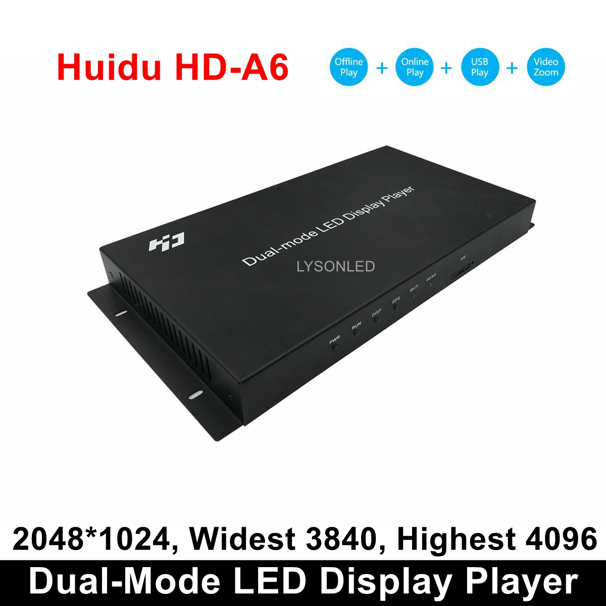 Huidu HD-A6 Asynch & Synch Large LED Video Display Player, Dual-Mode LED Video Controller 4 In 1 Player(WIFI/4G Expend Support)