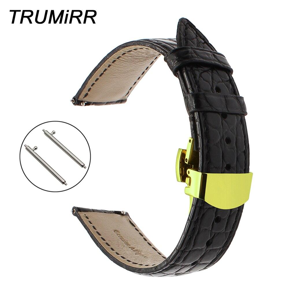 Bracelet de montre en cuir d'alligator véritable 18mm 20mm 22mm pour bracelet de montre Super océan