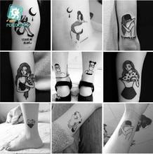 CC Set Different Black White Small Tattoo Dark series girl Design Unique Temporary Sticker Body Art Fake Hands Tatoo