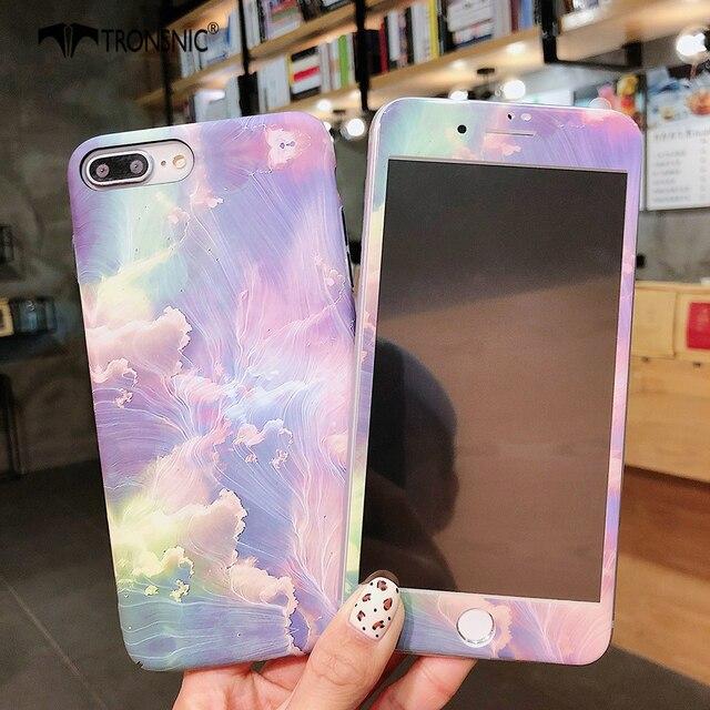TRONSNIC funda de teléfono con película de vidrio templado para iPhone, protector de pantalla de cristal templado para iPhone X, XS, MAX, XR, 6, 6S, 7, 8 Plus, color azul y rosa