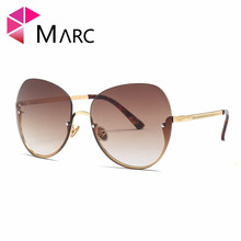 MARC 100%UV400 2018NEW WOMEN MEN Fashion Gradient Sunglasses Blue Brown Driving Resin Alloy Goggle Gafas Sol Rimless