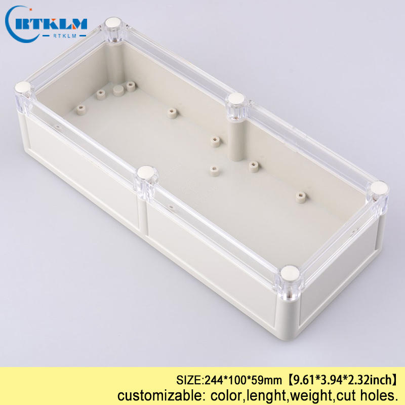 ABS plastic Electronics instrument case plastic waterproof box for junction box project case DIY control box 244*100*59mm IP68