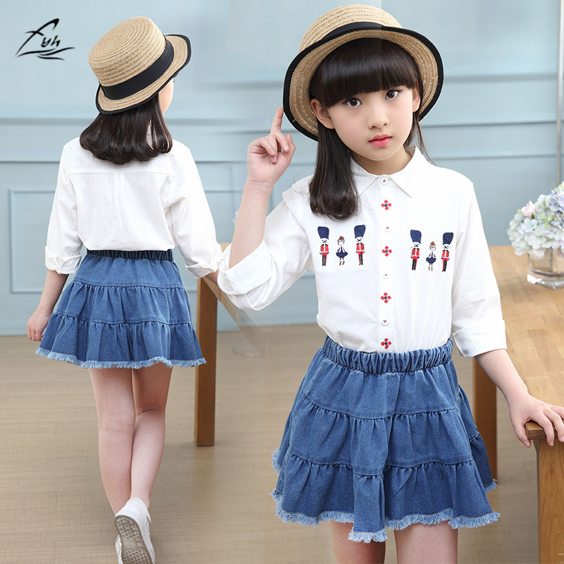 FYH Kids Clothing Set School Girls Long Sleeve Autumn Spring 2pcs Set Girls Clothes Turn-down Collar White Blouses +Denim Skirt