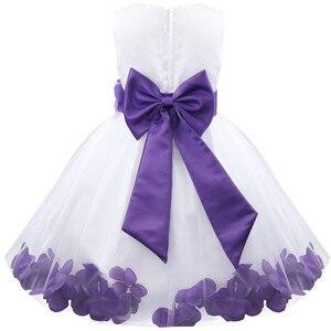 Image 4 - Vestido infantil de pétalos de flores para niña, concurso de belleza boda de novias, tul, vestido Formal de fiesta, vestido de flores para niña, vestido de princesa para niña