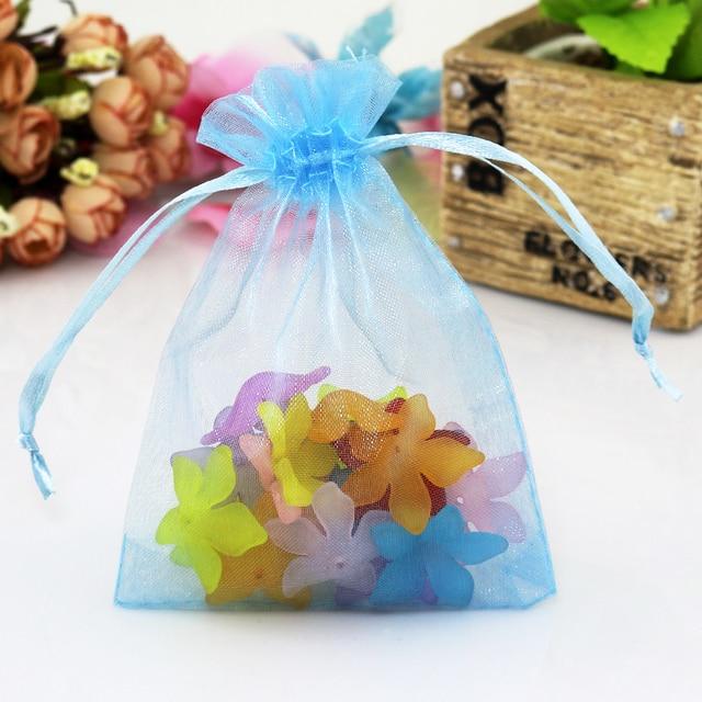 500pcs Light Blue Organza Bags 20x30cm Large Wedding Jewelry Packaging Bag Drawstring Gift Favor Christmas