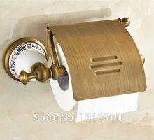 Недавно Euro Style Ванная Комната Держатель Туалетной Бумаги С Крышкой Керамика База Античная Латунь Туалетной Бумаги Полки Стойки Настенные