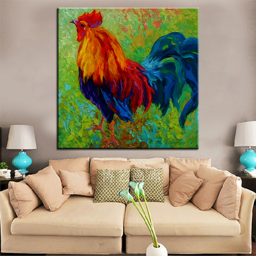 Large size Printing Oil Painting band of gold rooster Wall painting ...