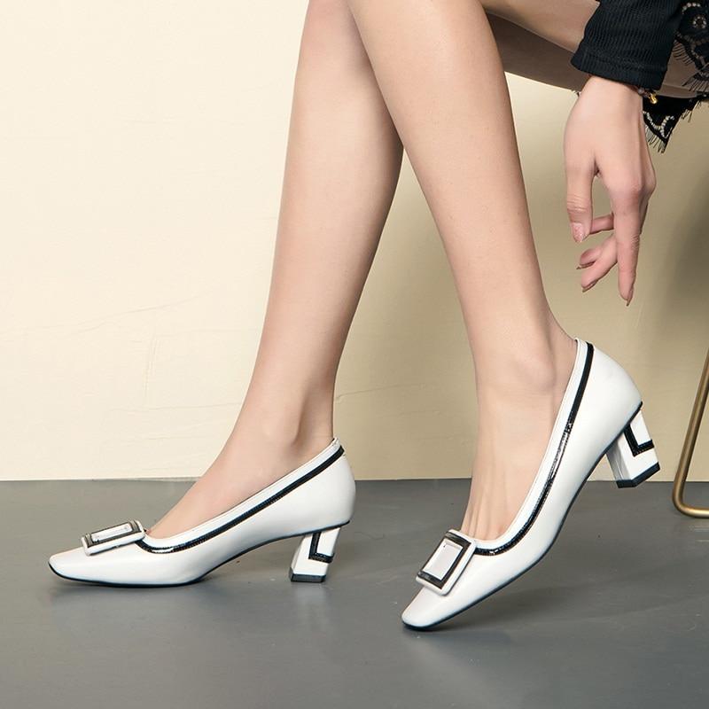 Chaussures De Bout Carré En Hauts white Pompes Cuir Classique Femmes Camel Marque Talons Base Office Lady beige Mode Peu Facndinll Profonde Véritable SqwnxfEgtF