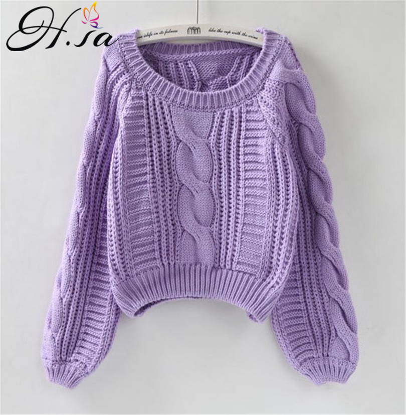 H.SA 2020 Women Winter Sweaters Korean Style Pink Pull Jumpers Solid Chic Short Sweater Twisted Pull Femme Kawaii Pullover Roupa
