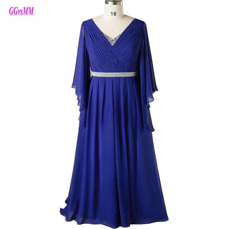 Sexy Royal Blue Plus Size Evening Dresses Long 2018 Evening Gown V