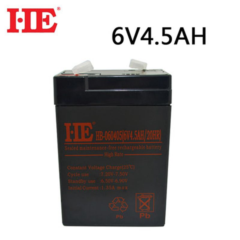 HE <font><b>6V</b></font> <font><b>4.5Ah</b></font> <font><b>lead</b></font> <font><b>acid</b></font> <font><b>battery</b></font> vrla agm storage accumulator rechargeable <font><b>battery</b></font> for solar system child toy car ups 70x47x101mm image