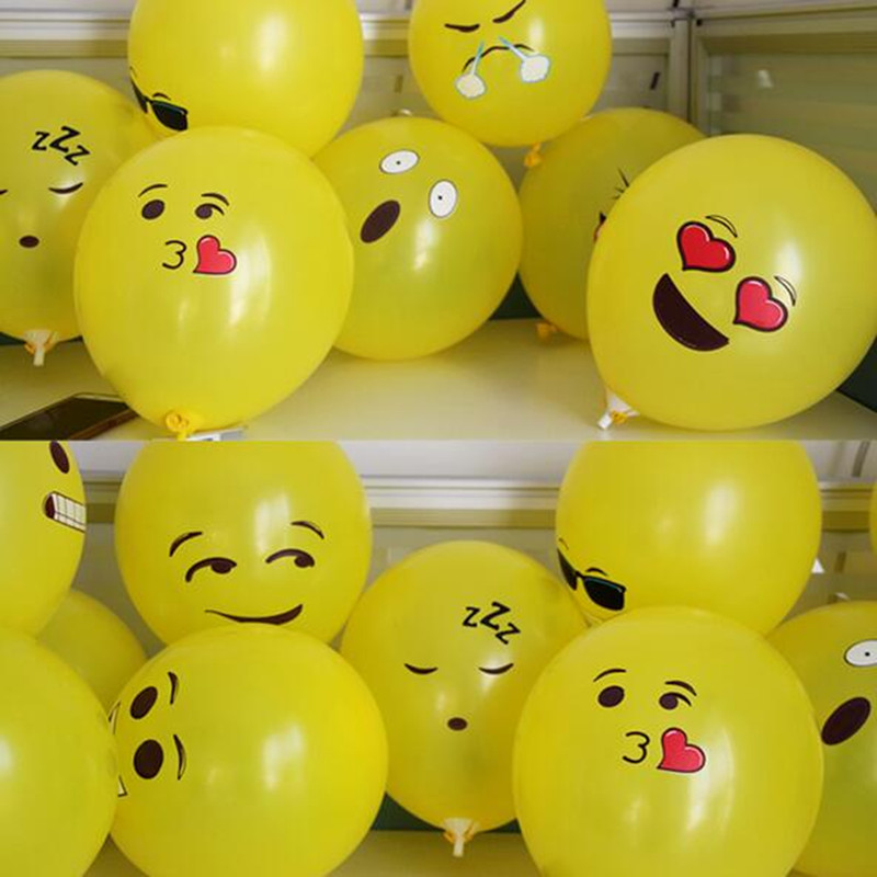 New product wechat QQ 100PCS 12 Emoji Balloons Smiley Face Expression Yellow Latex Balloons Birthday Party Wedding Decor Ballon