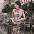 New Arrival Autumn Chinese Tradition Women's Silk Mandarin Collar Mini Cheong-sam Dress S M L XL XXL Free shipping TMZ0001