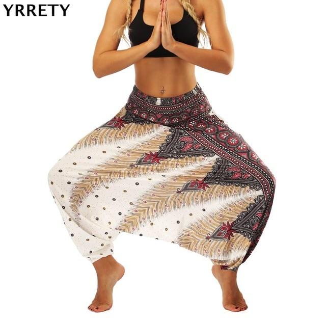 YRRETY, nuevos pantalones sueltos y suaves para mujer, pantalones Harem, Indie Folk, Boho, Festival, pantalones Hippy, pantalones sueltos con cintura elástica, pantalones nacionales