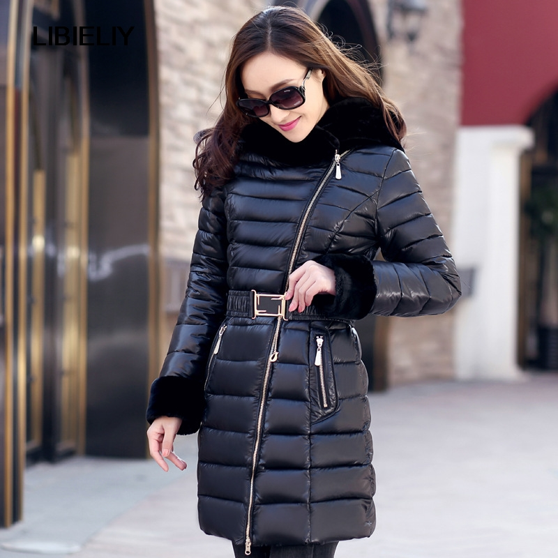 Nice New Casaco Feminino Thick Winter Jacket Women Cotton Down Jacket Winter Coat Women Long Down Parka Fur Collar Parka AW1152 hooded winter jacket women thick cotton padded parka down warm casaco feminino jaqueta feminina abrigos mujer invierno sy235