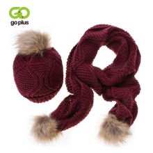 GOPLUS 2019 Spring Winter Women Knitted Hat Scarf Sets Fur Pompom luxury brand Thick Cotton Warm Beanies Scarves For Girl