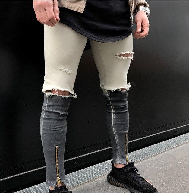 NOUVEAU Pantalon Zipper Denim Biker Jeans Genou 2017 Ripped Trou OTwBdx4O